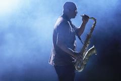 Man Playing Saxophone - stock photo