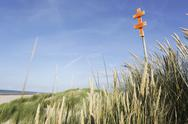 Stock Photo of Germany, Lower Saxony, East Frisia, Langeoog, sign at the beach