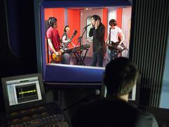 Band In Recording Studio - stock photo