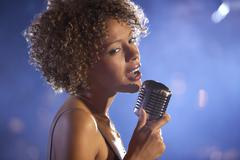 Female Jazz Singer On Stage Stock Photos