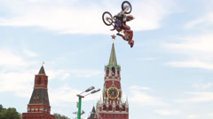 Stock Video Footage of FMX Jump motorbike red square moscow