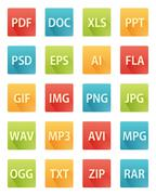 Long Shadow Flat Icons for File Formats - stock illustration