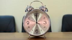 Big alarm clock  12:00 00 PM AM Stock Footage