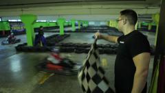 Go kart racing track finish line Stock Footage