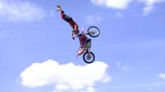 Stock Video Footage of FMX Jump motorbike
