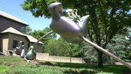 Stock Video Footage of Sculpture outside museum (2 of 2)