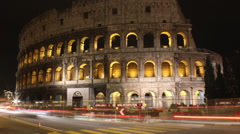 Roman Colosseum Night time-lapse main, Rome, Italy Stock Footage