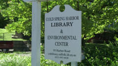 Cold Spring Harbor Library sign (1 of 2) - stock footage