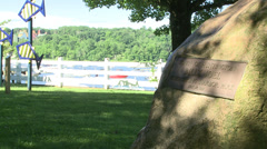 Cold Spring Harbor Park sign with Billy Joel (2 of 2) Stock Footage
