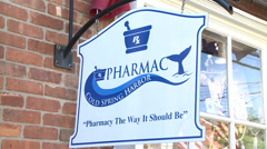 Cold Spring Harbor Pharmacy sign Stock Footage