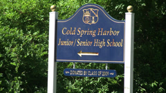Cold Spring Harbor Junior/Senior HS sign Stock Footage