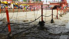 Holy Bath On Ganges Stock Footage