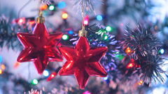Beautifully Decorated  Christmas Tree and Red Stars 4 Stock Footage