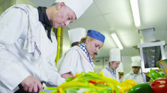 Team of professional chefs preparing food in a commercial kitchen - stock footage