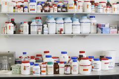 Shelves Full Of Medications - stock photo