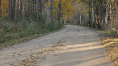 Runner on Autumn Dirt Road Stock Footage