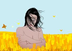 Nude Girl In A Field - stock illustration