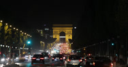 Stock Video Footage of Ultra HD 4K Illuminated Arc de Triomphe Triumphal Arch Paris Car Traffic Night