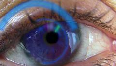Purple Eye with Digital Contact Lense - stock footage