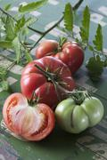 Kokonaisia ja pilkottuja Sleesian vadelma tomaatit (Solanum lycopersicum), stu Kuvituskuvat