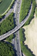 Germany, North Rhine-Westphalia, Bonn, View of highway junction, aerial photo Stock Photos
