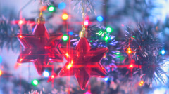 Beautifully Decorated  Christmas Tree  and Red Stars 5 Stock Footage