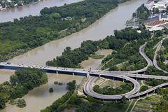 Stock Photo of Germany, Hesse, View of motorway bridge near Wiesbaden at high water of River