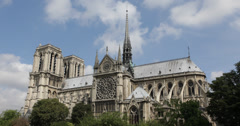 Ultra HD 4K Famous Landmark Iconic Symbol Notre Dame Cathedral Paris France Stock Footage