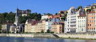 Stock Photo of saone river with colorful houses