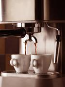 Germany, espresso machine and two cups, close-up Stock Photos