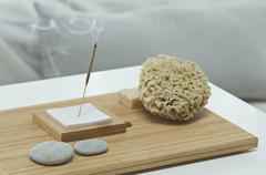 Aromatheraphy, sponch, pebbles, scent, aroma sticks, with a bed visible in the Stock Photos