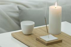 Stock Photo of Aromatheraphy, candle, scent, aroma stick, studio
