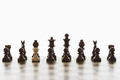 Single white pawn in initial line up of black chess pieces Stock Photos