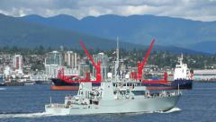 Canadian Navy Ship Passing By Stock Footage