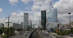 Ultra HD 4K La Defense Paris Business District Car Traffic Busy City Commuters - stock footage