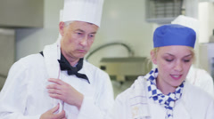 Head chef in commercial kitchen overseeing staff and offering advice - stock footage