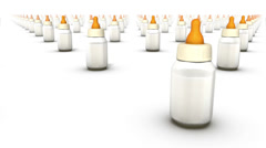 Endless Baby Bottles front view loop Stock Footage