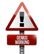 genius working road sign illustration design - stock illustration