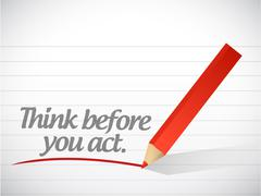 Stock Illustration of think before you act written message illustration