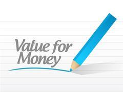 value for money written message illustration - stock illustration