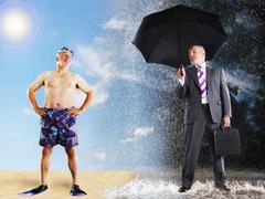 Businessman Imagining Of Summer Vacation - stock photo
