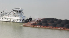 Tug Boat Pushing Coal Stock Footage