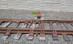 railroad switch - stock photo