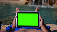 Stock Video Footage of Green Screen Tablet PC Pool 3685