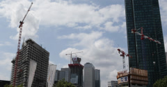 Ultra HD 4K High-rise Building Under Construction Heavy Cranes La Defense Paris Stock Footage