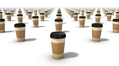 Diagonal view of endless Coffee Cups - stock photo