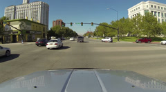 Driving city urban street tree lines SLC Utah POV HD 0158 Stock Footage