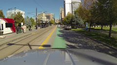 Driving past Trax Station urban SLC Utah POV HD 0158 Stock Footage