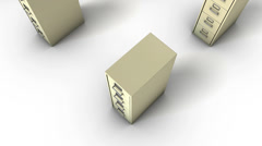 Boom down from single File Cabinet revealing endless Cabinets (Beige) Stock Footage