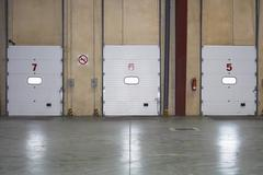 Loading Dock Doors In warehouse - stock photo